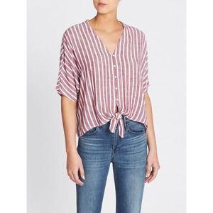 Rails Thea Top Large Womens Milos Stripe Crop Top Buttons Front Tie Linen Blend